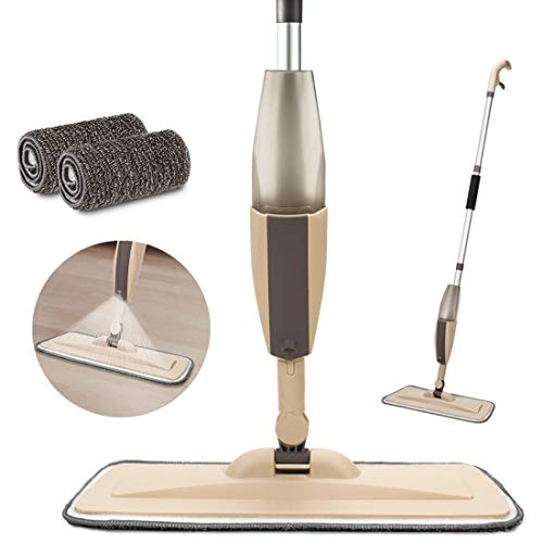 Microfiber Spray Mop for Floor Cleaning, Dry Wet Wood Floor Mop with 2 pcs Washable Pads, Handle Flat Mop with Sprayer for Kitchen Wood Floor Hardwood Laminate Ceramic Tiles Dust Cleaning