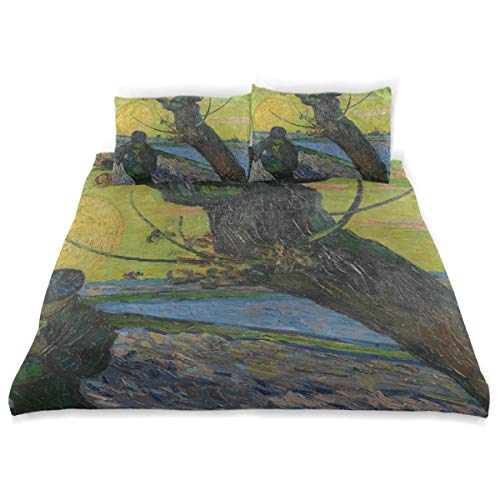 Vipsk Duvet Cover Set Van Gogh's The Sower with Setting Sun Pattern 3 Piece Bed Set 100% Cotton with Zipper Closure Organic Modern Comforter Set Full/Queen (The Sower With Setting Sun Van Gogh)