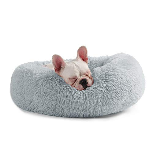 Veehoo Warming Round Dog Bed for Small Dogs & Cats, Luxurious Faux Fur Donut Cuddler, Bolster Pet Bed & Sofa, Extra Plush Dog Pillow & Couch, Machine Washable, Grey