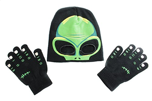 [Youth Cold Weather Knit Monster Hat Mask and Glove Set (Alien)] (Alien Costume Woman)
