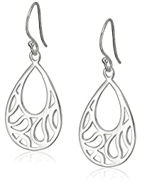 Sterling Silver Polished Teardrop Swirl Cutout Drop Earrings