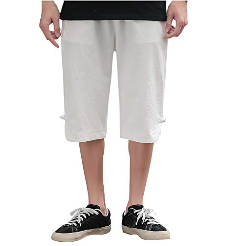 (Men's Cotton Linen Pants Casual Lightweight 3/4 Trousers Elastic Waist Shorts with Pockets White)