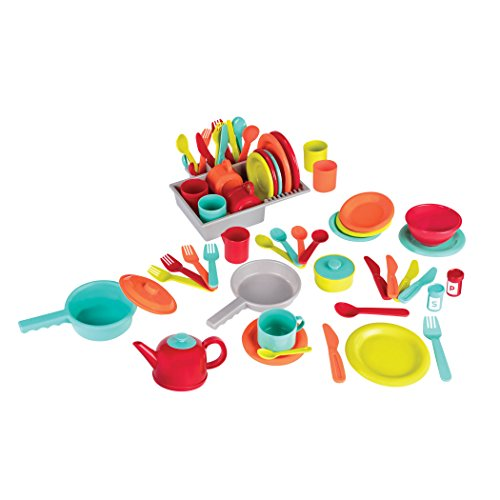 Battat Deluxe Kitchen Pretend Play Accessory Toy Set (71 pieces including Pots & Pans)