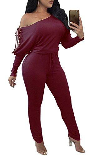 Women Boatneck Off Shoulder Long Sleeve Tight Elastic Waist Pantsuit Jumpsuit Ruby M