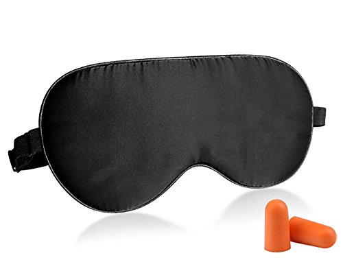 Fitglam Natural Silk Sleep Mask, Best Sleeping Mask Eye Mask Eye Cover for Travel, Nap, Meditation, Blindfold with Adjustable Strap for Men, Women and Teenagers (black)