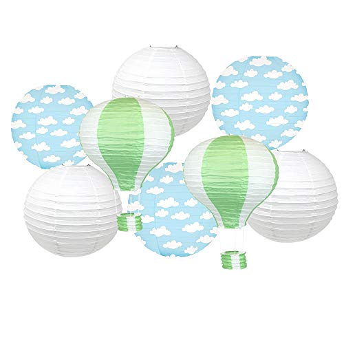 Just Artifacts Decorative 8pcs Hot Air Balloon Paper Lanterns with Clouds (Color: Green)]()