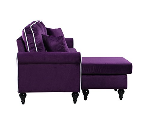 Classic And Traditional Small Space Velvet Sectional Sofa With Reversible  Chaise (Purple)   HomeGoodsReview