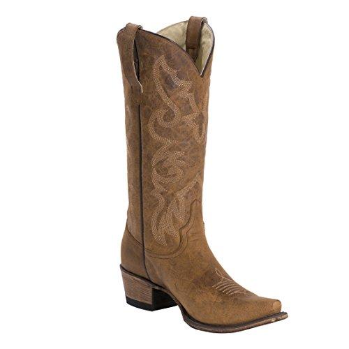 Fm1101 Hot Paprika Kvinners Skinn Cowboy Boot Honning