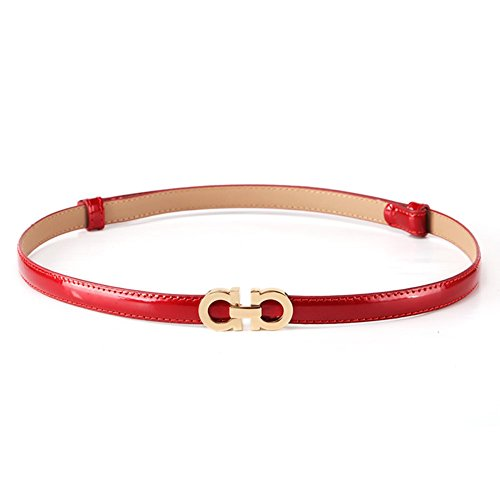 Red Skinny Belt (MoYoTo Women's Stylish Thin Patent Leather Gold Skinny Waist Belts For Dresses (Red))