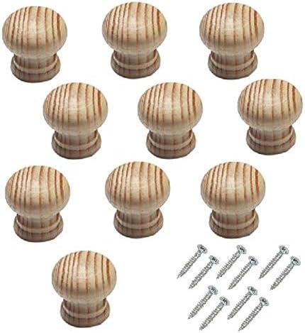 10/St/ück Bulk Hardware bh05829/45/mm unlackiert Buche Holz Schrank Schrank T/ürknauf gebohrt f/ür Holzschraube D/übel Schraube