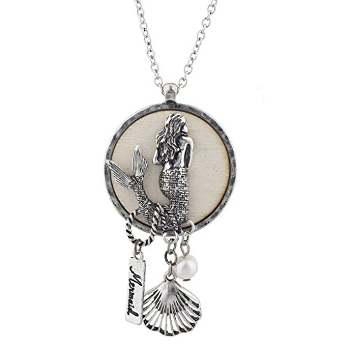 Ring Pearl Coin - Lux Accessories Burnish Silvertone Under The Sea Mermaid Charm Pendant Necklace