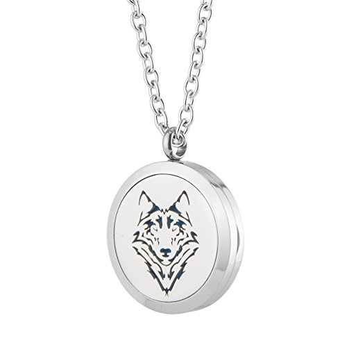 Aromatherapy Essential Oil Diffuser Necklace - Wolf Stainless Steel Locket Pendant Men Boy Fragrance Jewelry - for Father's Day Gift By Jenia