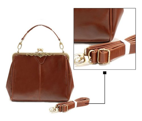 Vintage Style Kiss Lock PU Leather Fashionable Handle Shoulder Bag (White)   Handbags  Amazon.com 984f7b8a97