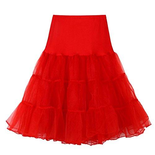 Femmes 1 Rouge De Qualité Jupe Tutu Tefamore Pour Plissée Haute Courte Dancing Adulte qtx7wT