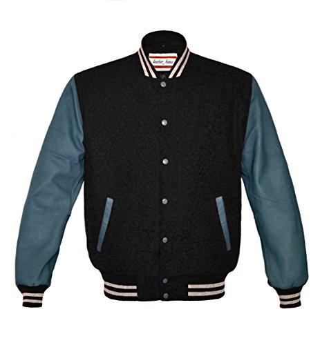 Orginal American Style Varsity Leather Biker Letterman College Men Wool Jackets,Black-grey Stripe,X-Small