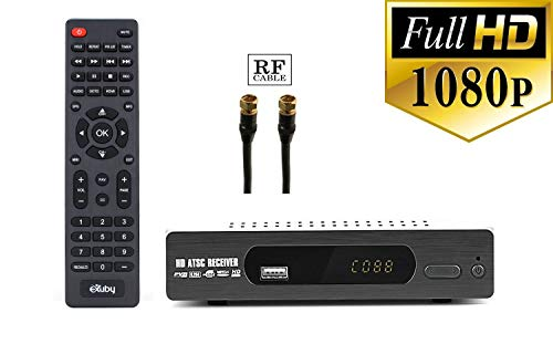 Digital Converter Box + RF and RCA Cable for Recording and Viewing Full HD Digital Channels for Free (Instant or Scheduled Recording, 1080P HDTV, HDMI Output, 7 Day Program Guide and LCD Screen)