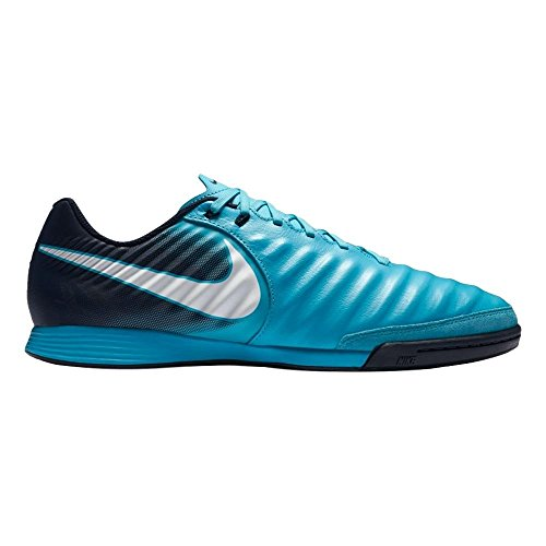 NIKE Men's Tiempo Ligera IV Leather IC Indoor Soccer Shoe (Sz. 10.5) Gamma Blue, Glacier Blue