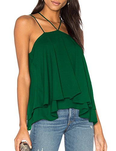 Ally-Magic Women's Sleeveless Tank Tops Double Strap Layered Chiffon Blouse C4732 (M, Green)