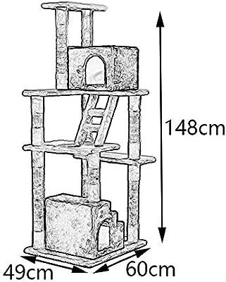 YM Gato Sube el Marco con la Caja de la Escalera Gato Que Salta la Plataforma Gato árbol Gato rascarse Columna Garra Juguete Mascota Juguete Beige Gato Estante ...