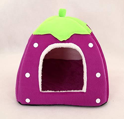 Purple L Purple L Pet nest Dog House cat Litter Strawberry Pattern Foldable pet Litter (color   Purple, Size   L)