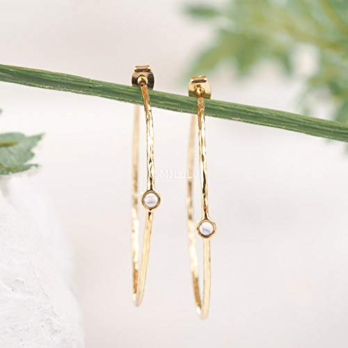 White Simulated Howlite Gold Plated Hoop Earrings