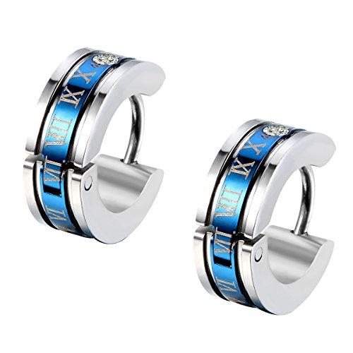 super popolare cec8f d53c5 Flongo orecchini uomo in acciaio romatico lettering schema cerchio forma  nero per natale San Valentino