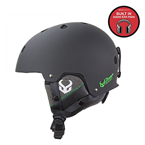 Demon Faktor Ski & Snowboard Helmet with Audio Ears-Cinch Tight Fit System (Black, LRG/XRLG (56-59cm))