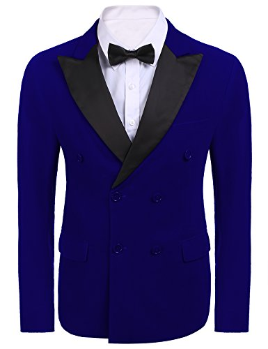Peaked Lapel Jacket (Jinidu Mens Suit Peaked Lapel Double Breasted Tuxedo Slim Fit Evening Dinner Blazer Jacket,Royal Blue,Medium)
