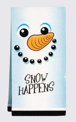 Snow Happens Snowman Winter Christmas Whimsical 100% Cotton Tea Towel Gift