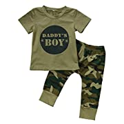 2 Styles Daddy's Baby Boy Girl Camouflage Short Sleeve T-shirt Tops+Green Long Pants Outfit Casual Outfit (0-6 Months, Baby Boy)