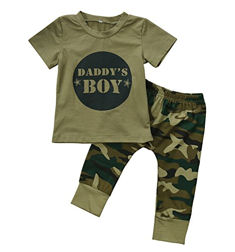 2 Styles Daddy's Baby Boy Girl Camouflage Short Sleeve T-shirt Tops+Green Long Pants Outfit Casual Outfit (18-24 Months, Baby Boy)
