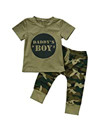 2 Styles Daddy¡¯s Baby Boy Girl Camouflage Short Sleeve T-shirt Tops+Green Long Pants