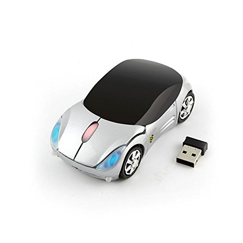 CHUYI Cool Sport Car Shaped Mouse 2.4GHz Wireless Car Mouse Ultra Small Optical Mouse Mini Office Mice for PC Computer Laptop Gift (Silver)