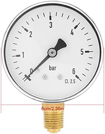 1 4 Npt Druckluft Manometer 0 6 Bar Manometer Zur Seitlichen Montage Für Wasser Luft Ölmessgerät Baumarkt