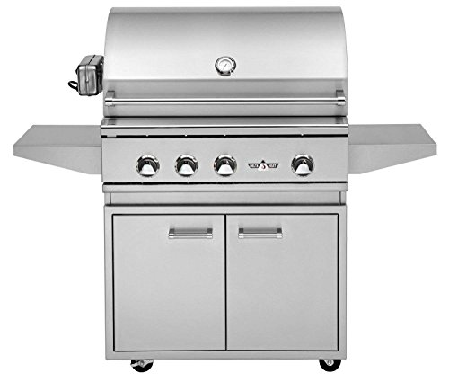 Delta Heat Grill on Cabinet with Infrared Rotisserie and Sear Zone (DHBQ32RS-C-N-DHGB32-C), 32-Inch, Natural Gas