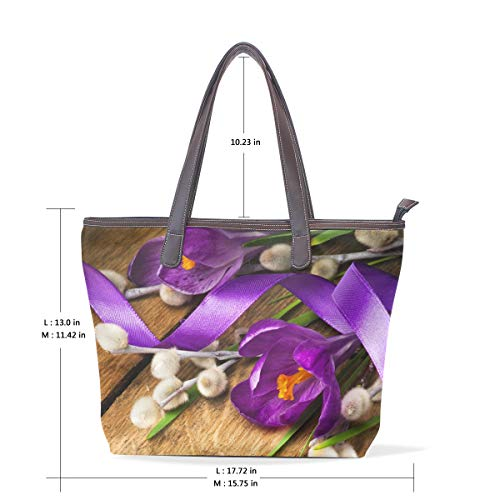 Handbags On Flowers Easter PU Wooden Spring Women's Leather Tote wdqSBZwW