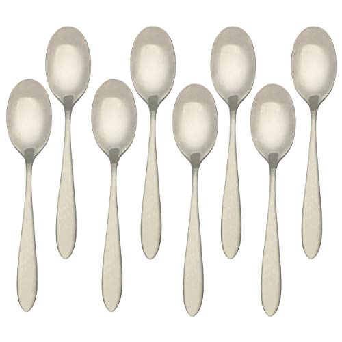 Higer Home 18/10 Stainless Steel Dinner Spoons Table Spoons Set of 8pcs, Heavy Duty Satin Flatware Silverware Cutlery Set, Silver 8.0-Inch(Dinner Spoon)