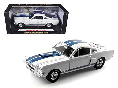 1966 Shelby Mustang GT 350 White with Blue Stripes 1/18 by - SHELBY COLLECTIBLES SC160