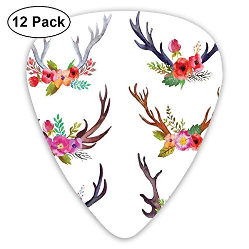 Celluloid Guitar Picks - 12 Pack,Abstract Art Colorful Designs,Deer Horns Bouquet Flowers Bloom Fun Springtime Garden Branches Work Of Art Print,For Bass Electric & Acoustic Guitars. ()