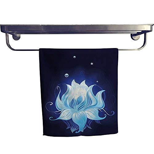(HoBeauty home Sports Ttowel,Lotus with Dew Drops Reflected in Dark Water Background Yoga Spirit Image Indigo,Ultra Soft, Cozy and Absorbent W 8