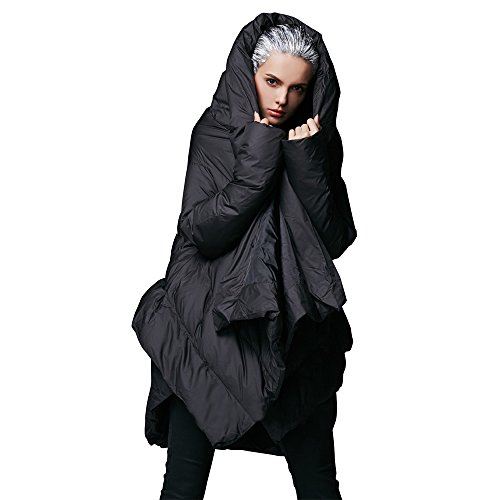 - YVYVLOLO Women's Winter Jacket Cloak Loose Parka Warm Coat(FM1618-Black-L)