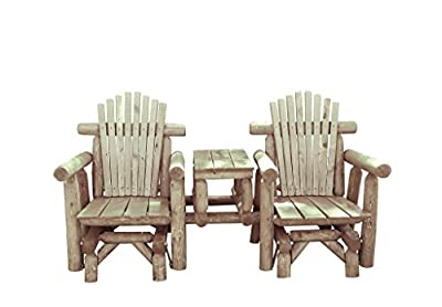 Rustic White Cedar Log Adirondack Gliding Settee with Center Table - Amish Made in the USA