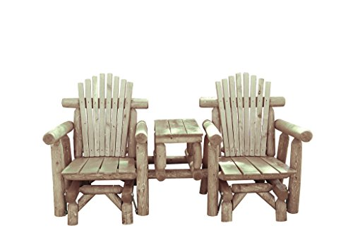 (Rustic White Cedar Log Adirondack Gliding Settee with Center Table - Amish Made in the USA)