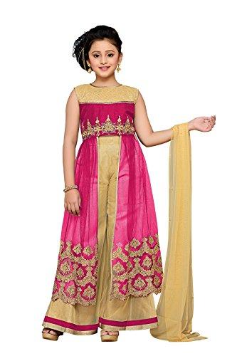 Aarika Girl's Self Design Party Wear Palazzo Suit Set (1069-RANI_38_14-15 Years) by Aarika