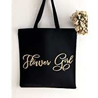 Flower girl gift tote bag with gold foil and heavy canvas