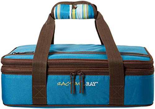 Rachael Ray Expandable Lasagna Lugger, Double Casserole Carrier for Potluck Parties, Picnics, Tailgates - Fits two 9x13 Casserole Dishes, Marine Blue Stripe