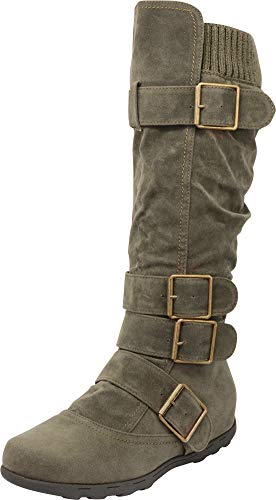 Cambridge Select Women's Buckle Sweater Flat Knee-High Boot (8.5 B(M) US, Olive)