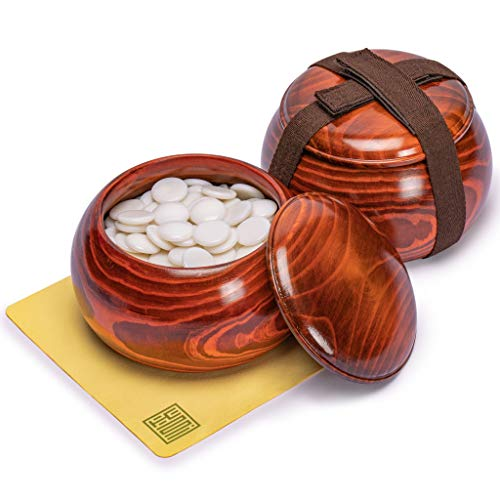Yellow Mountain Imports Single Convex Melamine Go Stones, 21.5 to 22 Millimeter (Size 3), Includes Jujube Bowls