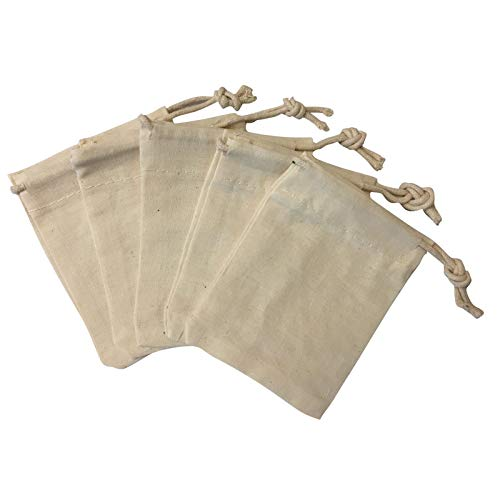 "Natural Muslin Drawstring Bags 3"" x 4"" 