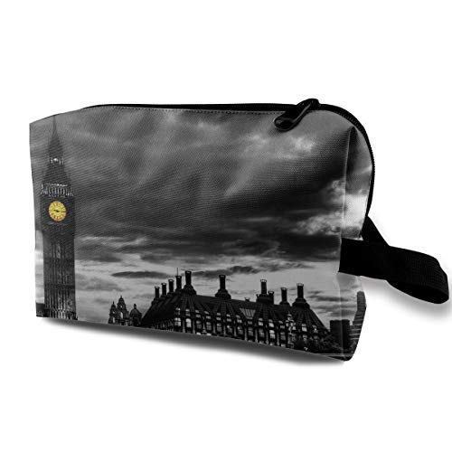 Lovesofun Black Art in London Portable Travel Storage Bags Luggage Cosmetic Packing Bag with Zipper for Travel Cubes Set for Travel